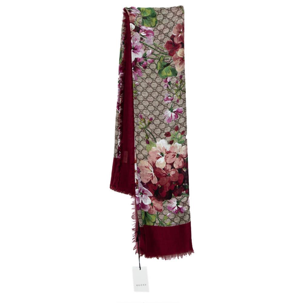 Gucci Maroon GG Blooms Print Modal & Silk Print Shawl