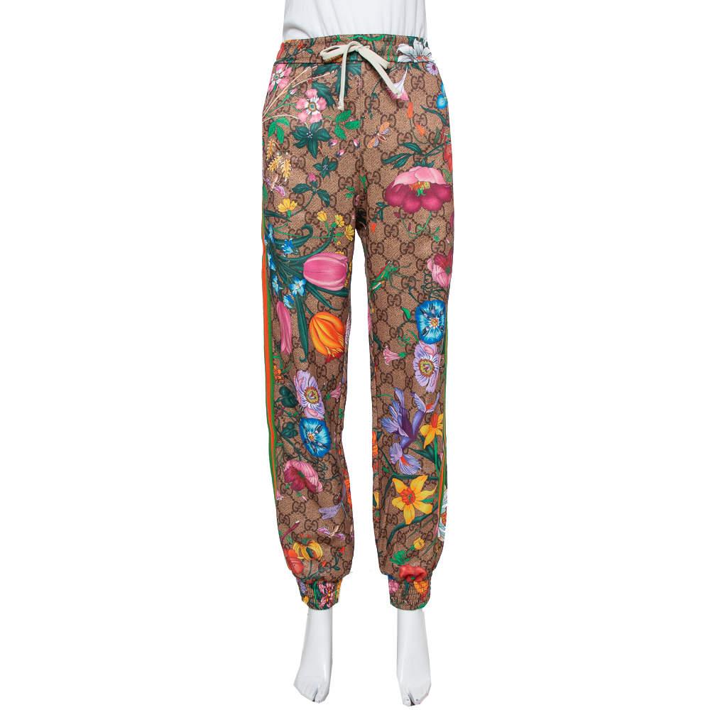 Gucci Brown Knit Flora GG Supreme Pattern Track Pants S