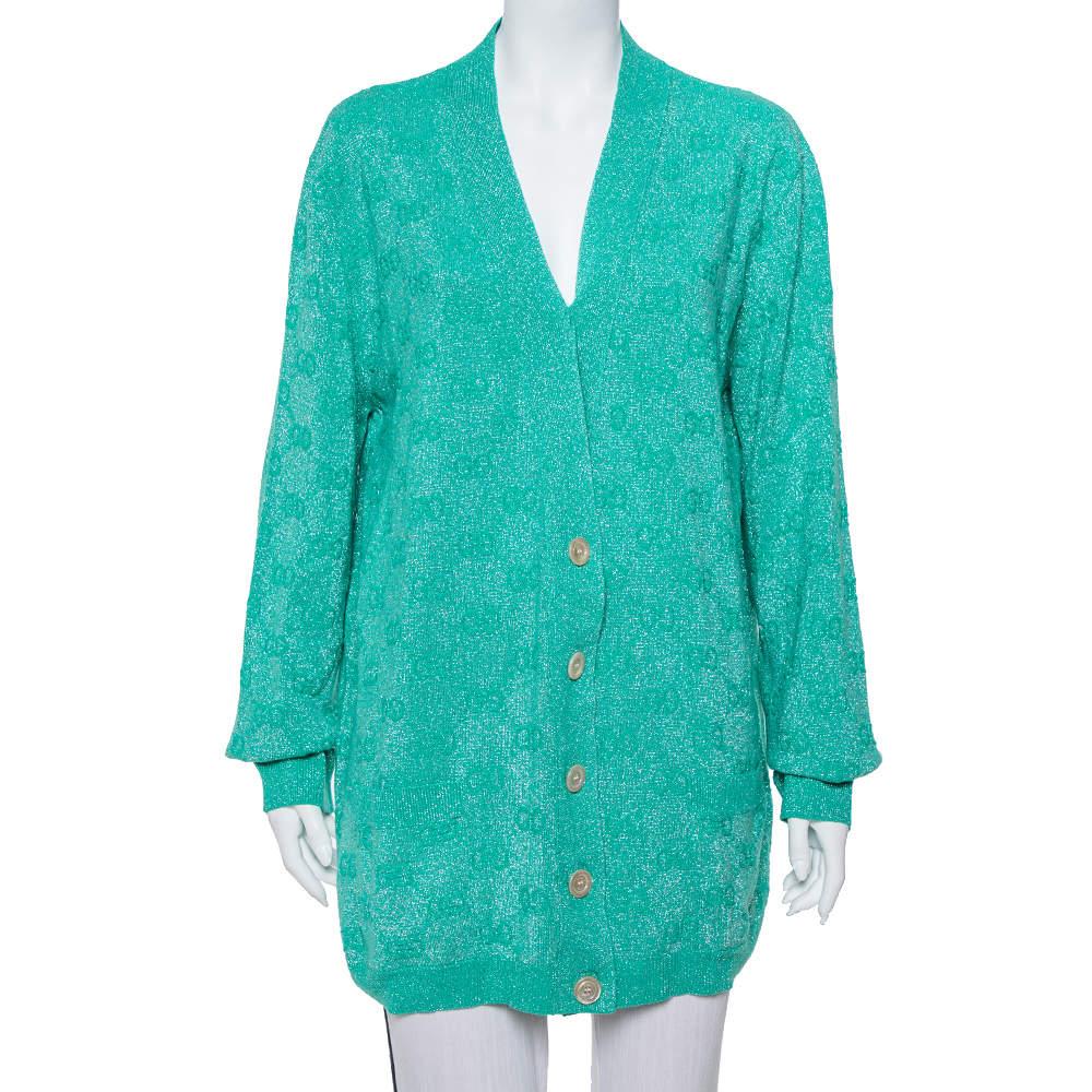 Gucci Green Logo Intarsia Lurex Wool Knit Cardigan XXL