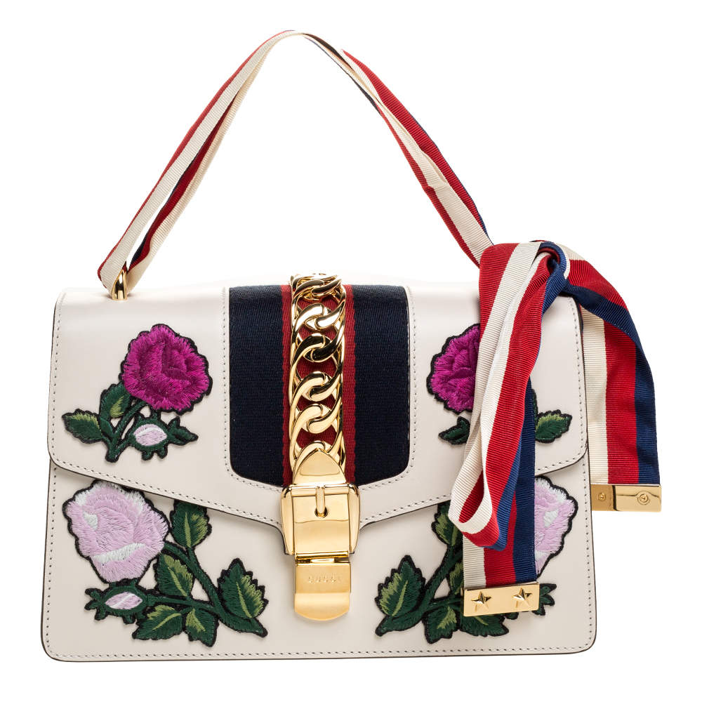 Gucci Ivory Floral Embroidered Leather Small Web Chain Sylvie Shoulder Bag