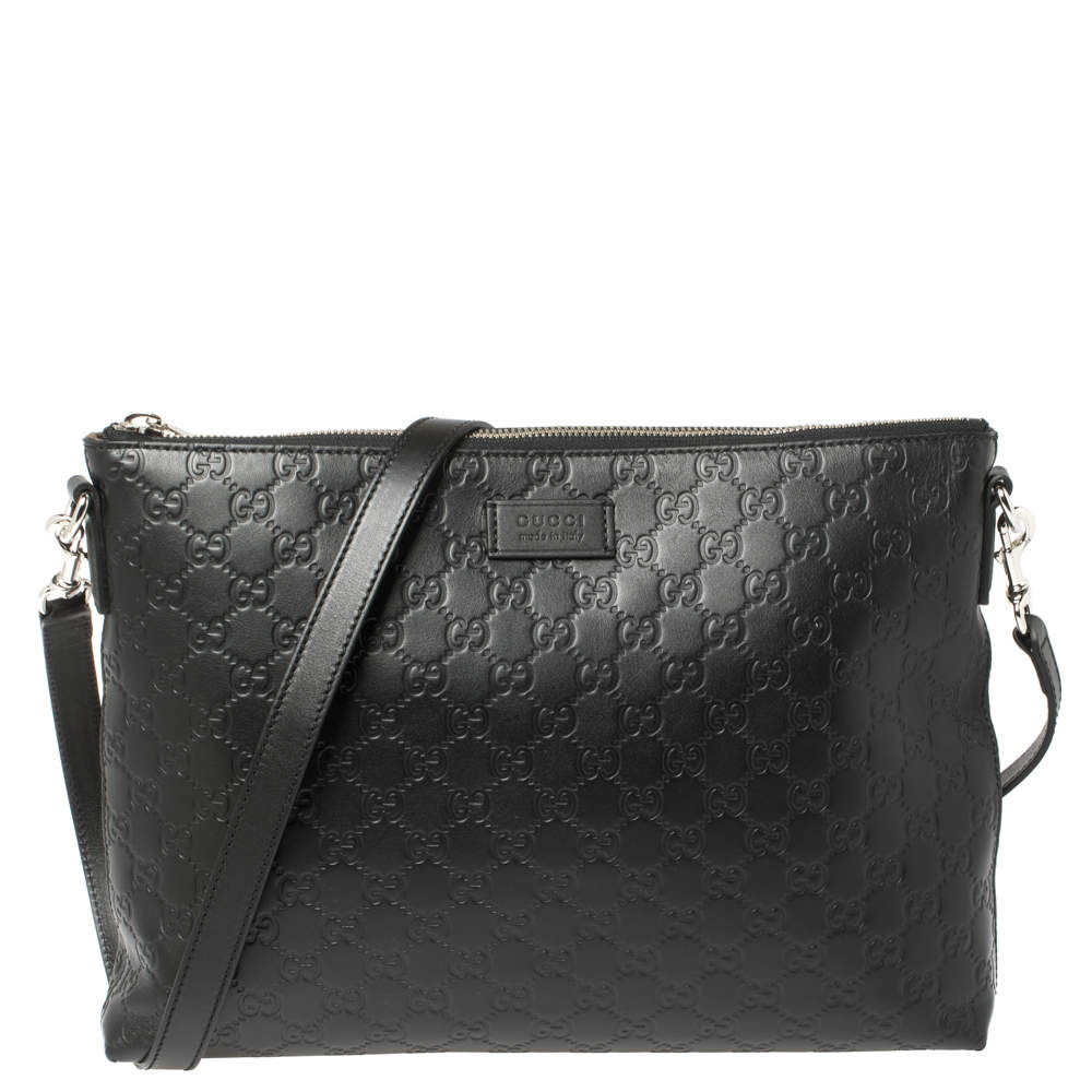 Gucci Black Guccissima Leather Messenger Bag