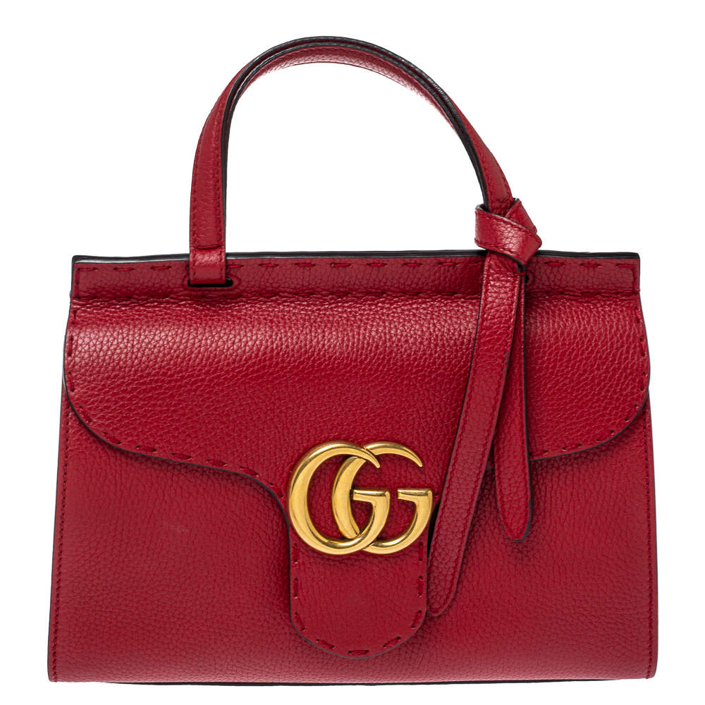 Gucci Red Leather Mini GG Marmont Top Handle Bag