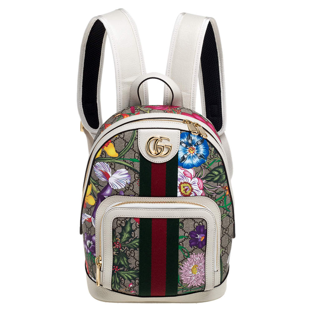 Gucci White GG Supreme Canvas and Leather Small Ophidia Flora Backpack
