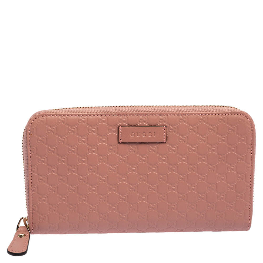 Gucci Pink Microguccissima Leather Zip Around Wallet