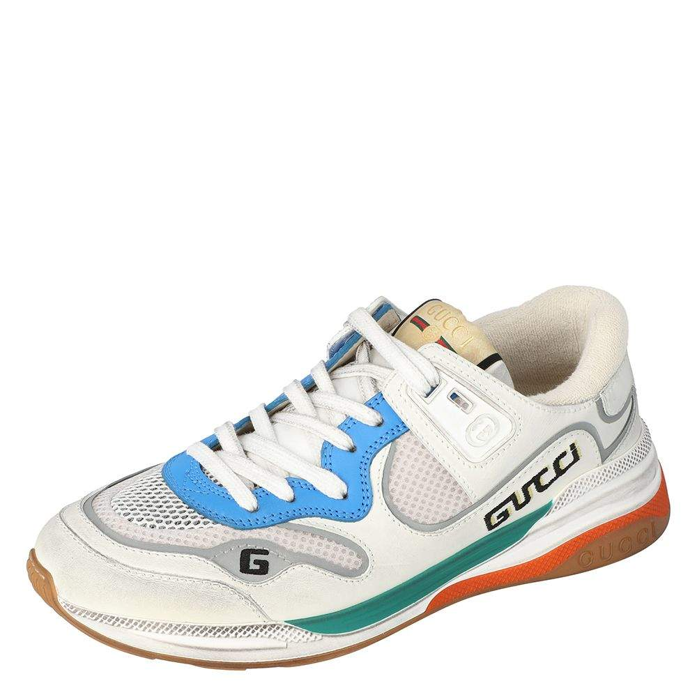 Gucci White Leather And Fabric Ultrapace Low-Top Sneakers Size 39