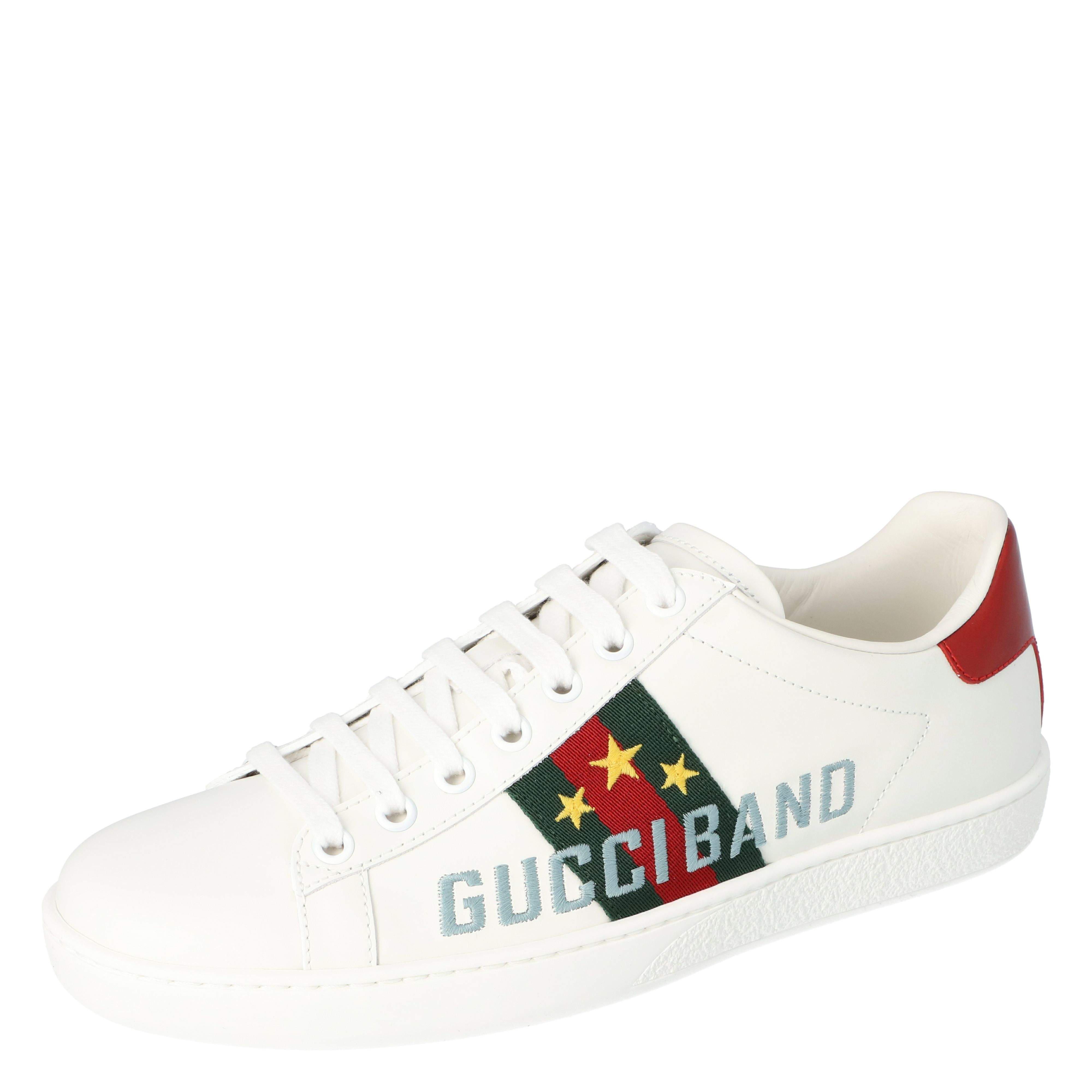 Gucci White Leather Gucci Band Embroidery Ace Low-Top Sneakers Size 40