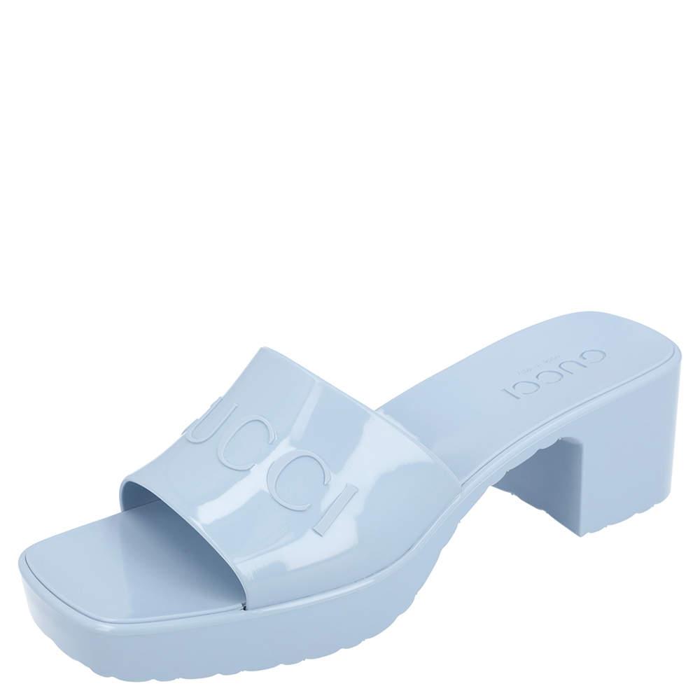 Gucci Light Blue Rubber Slide Sandal Size 38