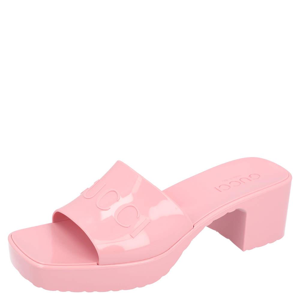 Gucci Light Pink Rubber Slide Sandal Size 36