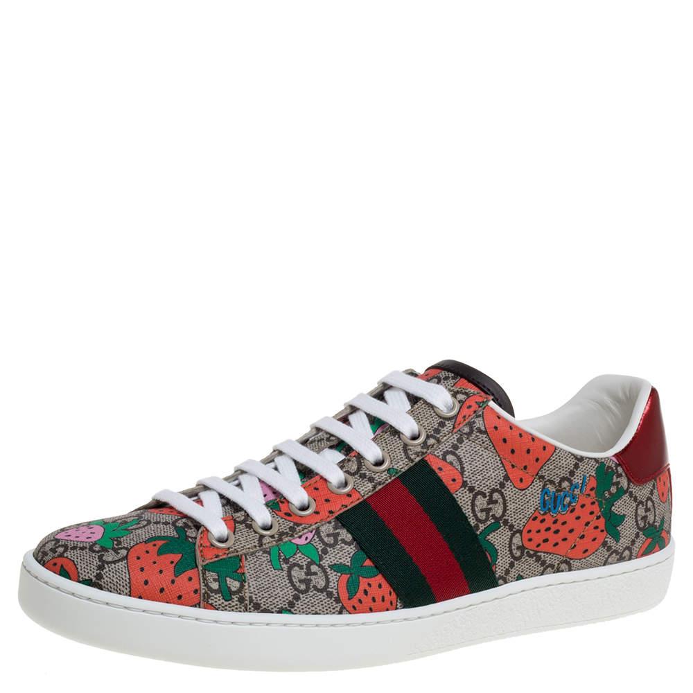 Gucci Mulitcolor GG Supreme Canvas Ace Strawberry Sneakers Size 37.5
