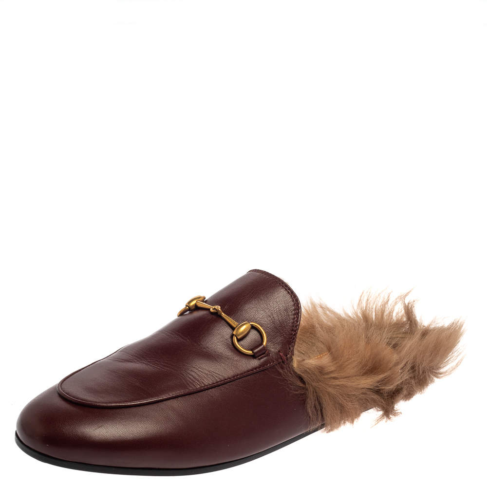 Gucci Burgundy  Leather Horsebit  Princetown Mules Size 40