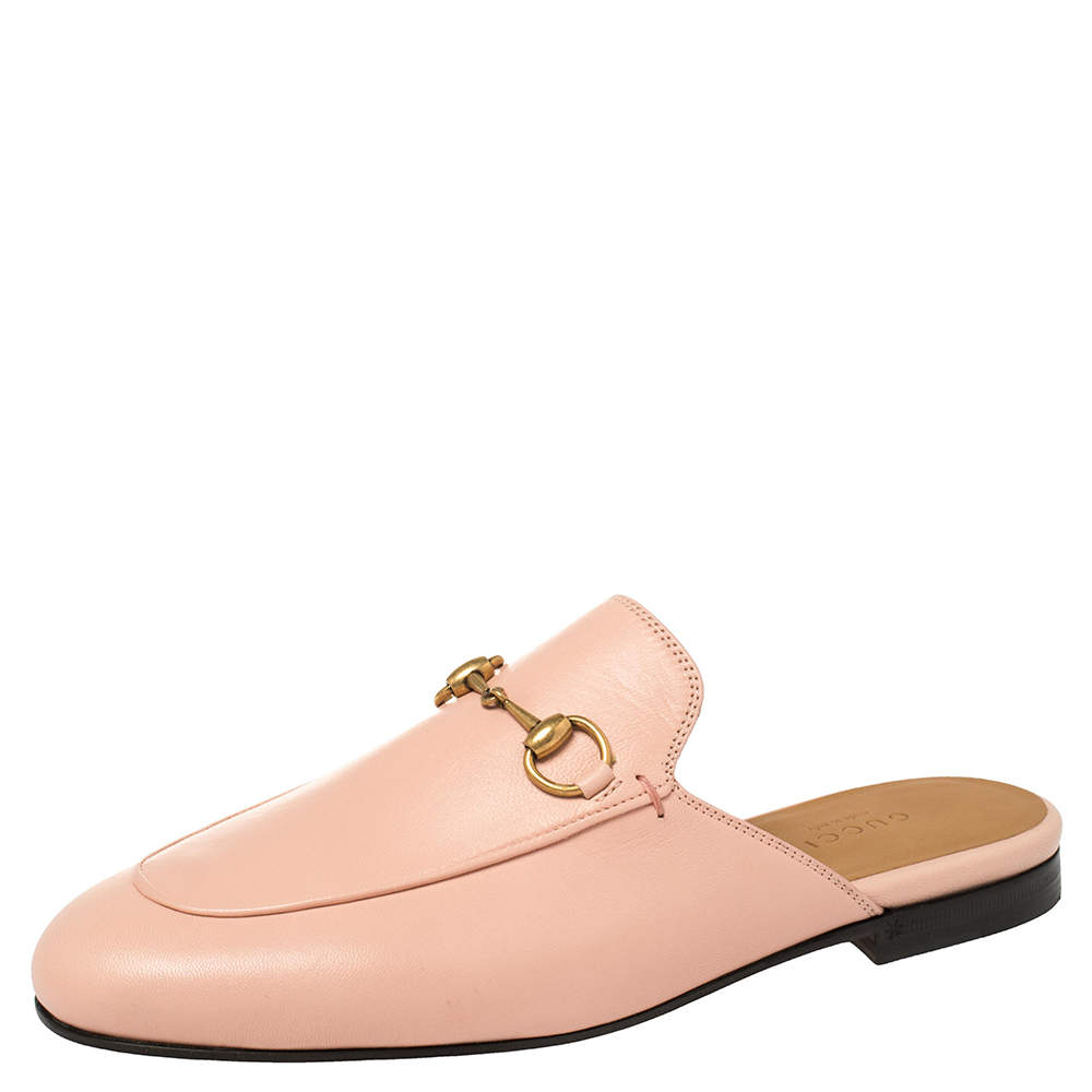 Gucci Pink Leather Princetown Horsebit Flat Mules Size 37