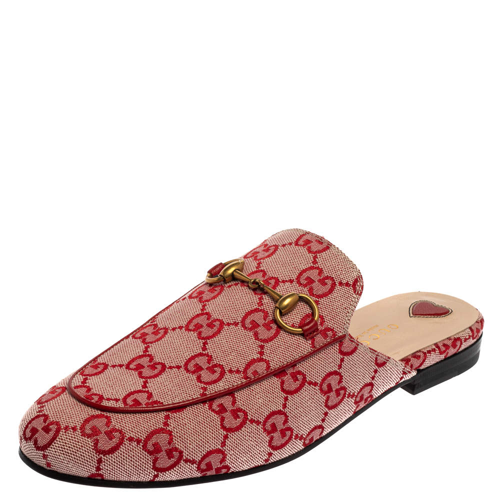 Gucci Red GG Canvas Princetown Horsebit Flat Mules Size 37.5