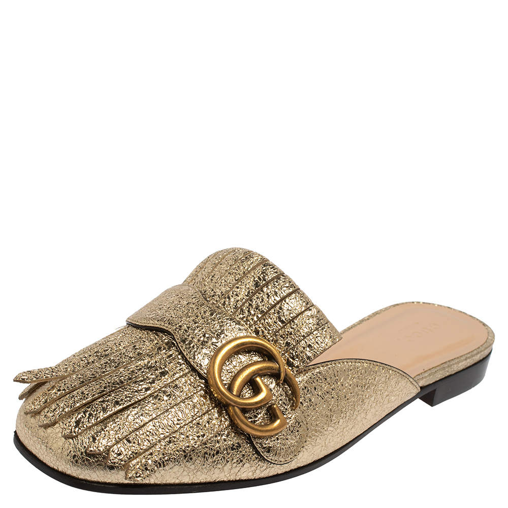 Gucci Metallic Gold Leather GG Marmont Kiltie Mules Size 37.5