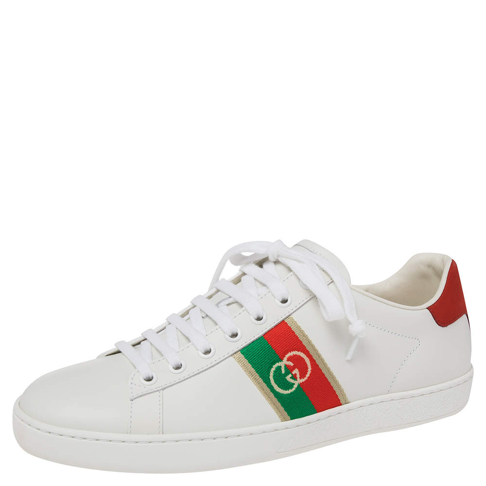 Gucci White Leather Ace Low Top  Sneakers Size 39