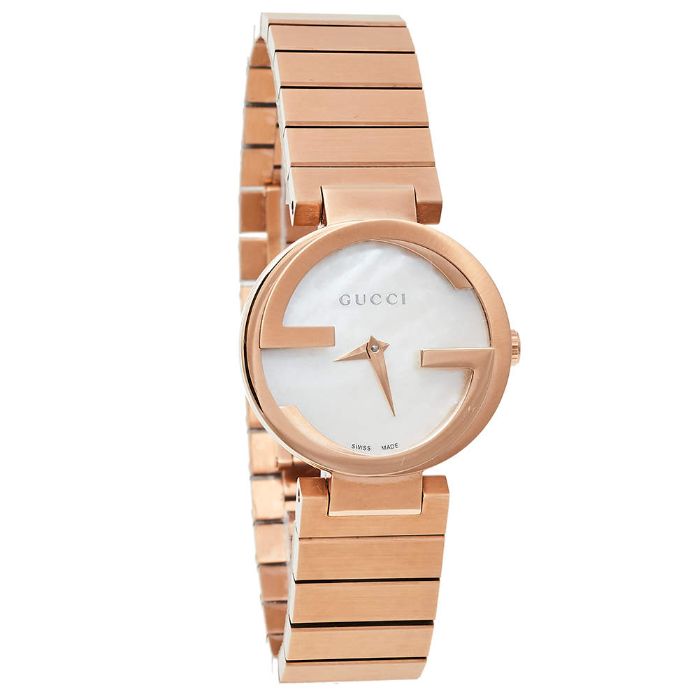 Gucci Mother Of Pearl Rose Gold Tone Stainless Steel Interlocking YA133515 Women's Wristwatch 29 mm