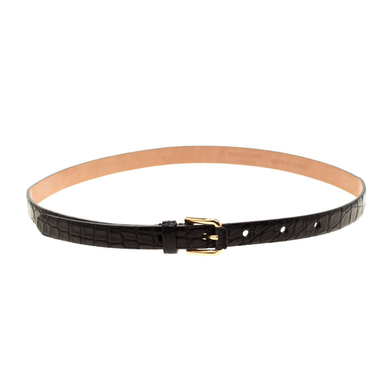 Dolce & Gabbana Black Crocodile Leather Belt Size 80CM