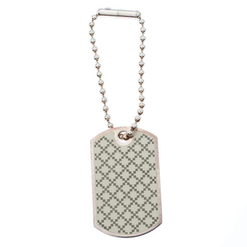Gucci Enamel Silver Tag Pendant Charm