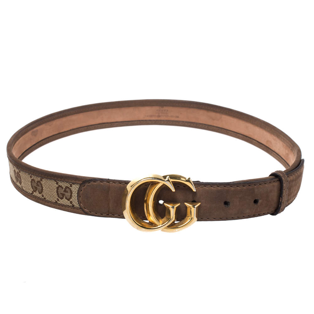 Gucci Brown Guccissima Canvas and Leather GG Buckle Belt 85CM