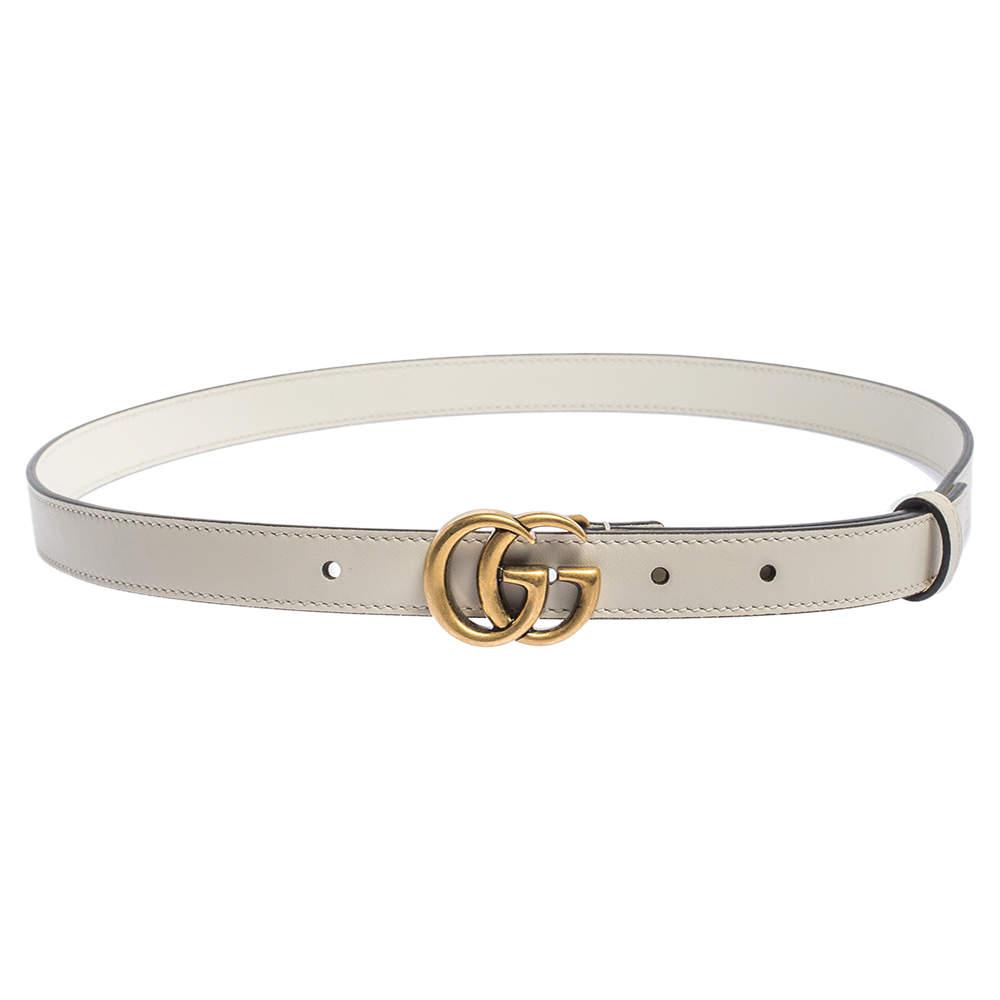 Gucci White Leather Double G Slim Belt 90CM