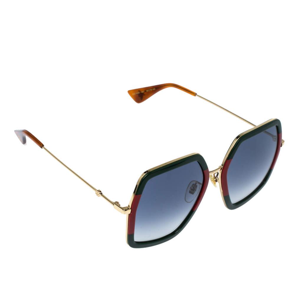 Gucci Web & Gold Tone/ Grey Gradient GG0106S Oversized Square Sunglasses