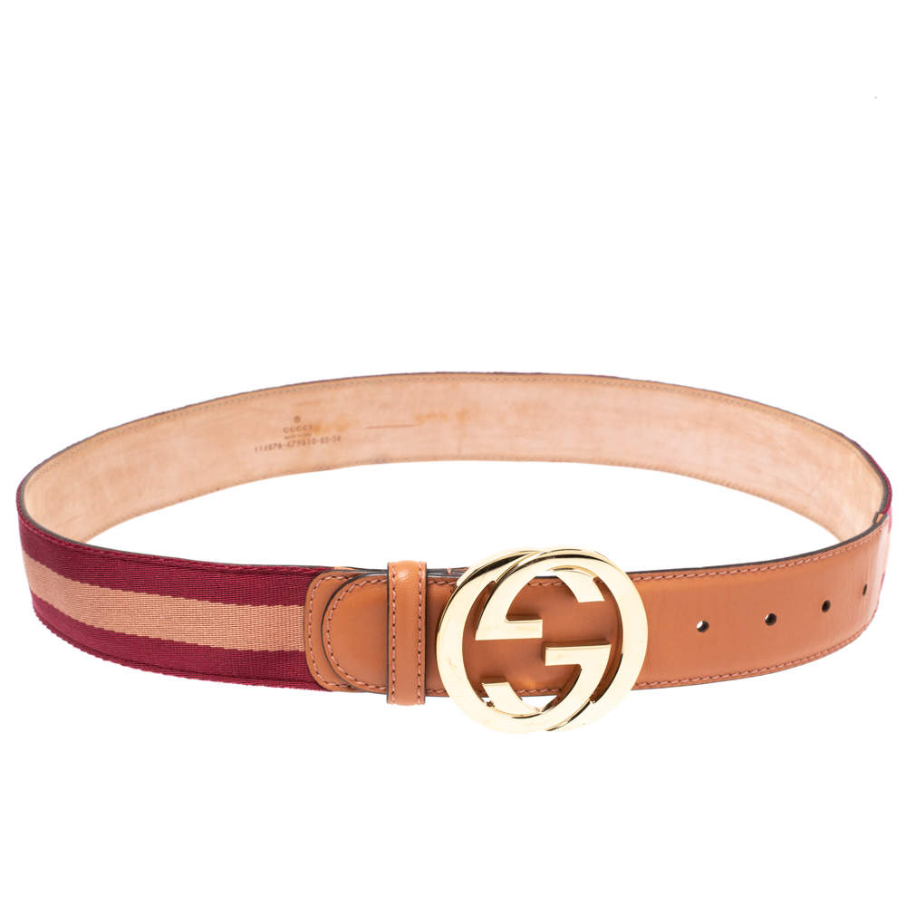 Gucci Pink Web Canvas and Leather Interlocking G Buckle Belt 85CM