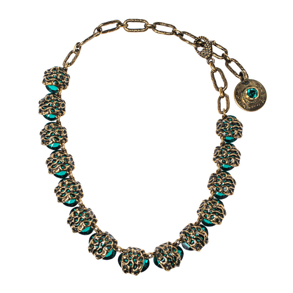 Gucci Crystal Embellished Gold Tone Necklace