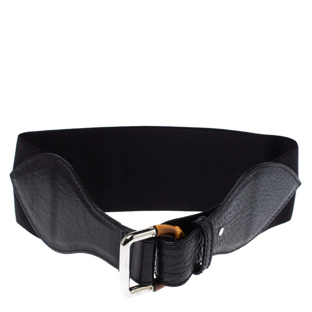 Gucci Black Elastic Band and Leather Bamboo Buckle Waist Belt 65CM