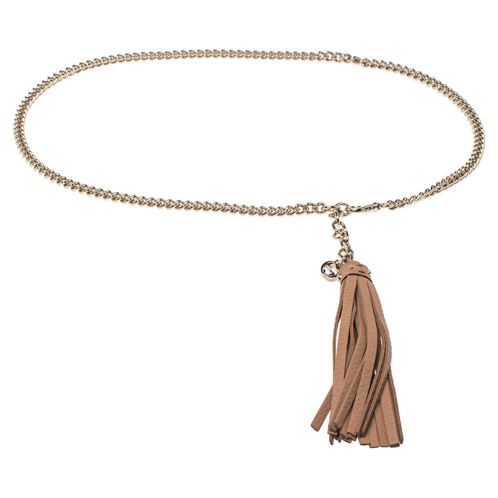 Gucci Beige Leather Tassel Chain Belt