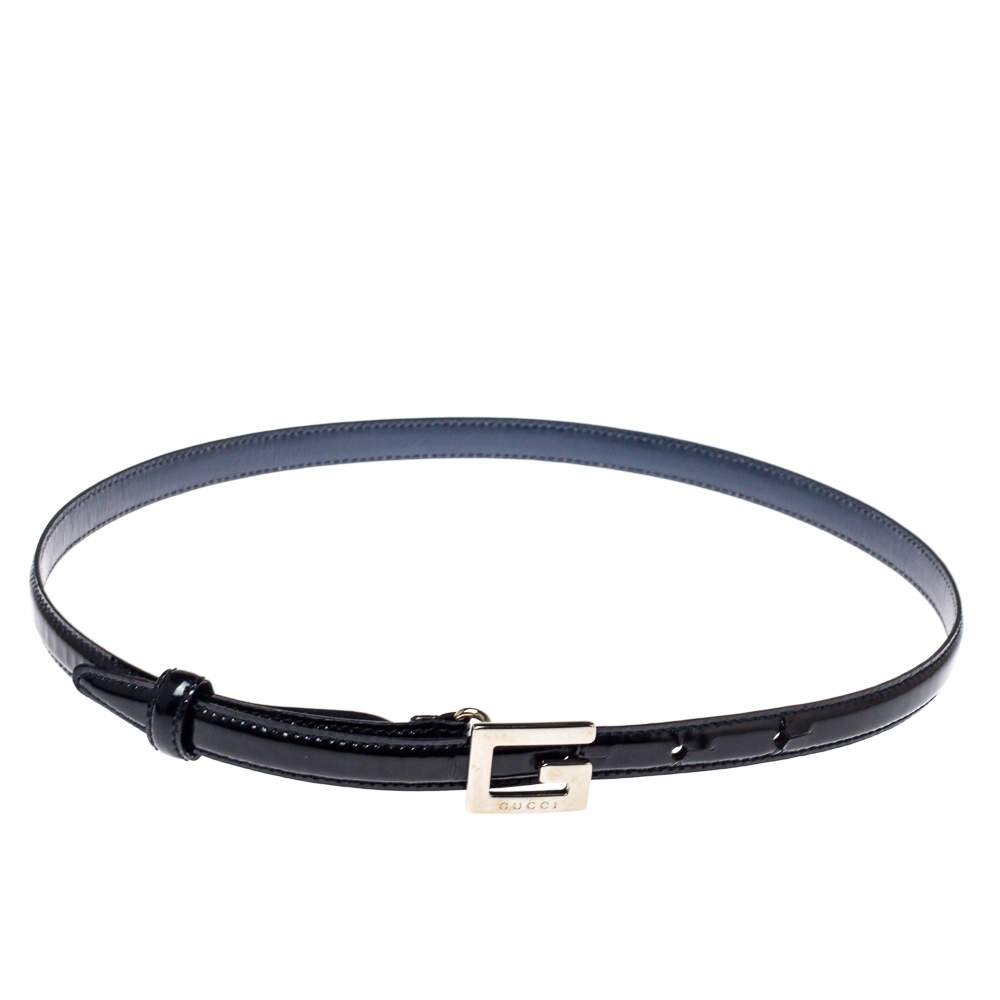 Gucci Navy Blue Patent Leather Square G High Waist Narrow Belt 65CM