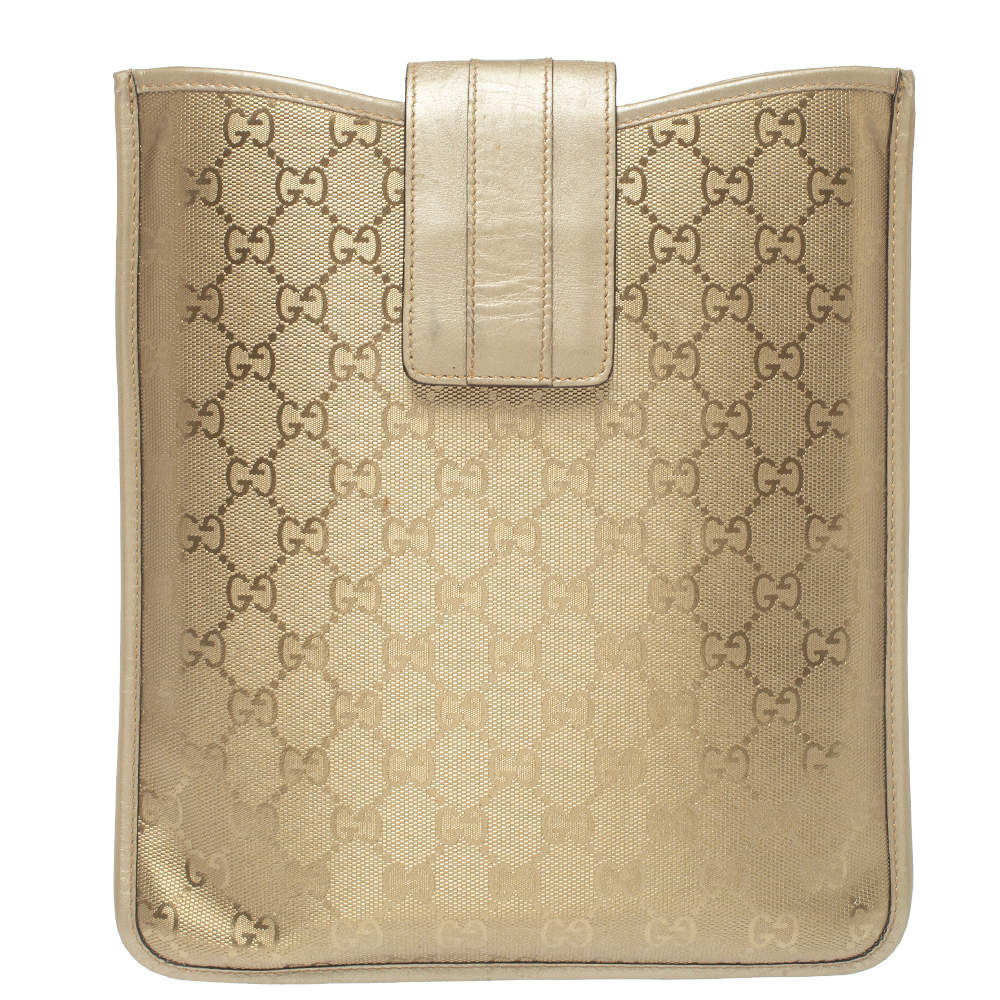 Gucci Gold GG Imprime Leather Flap iPad Case