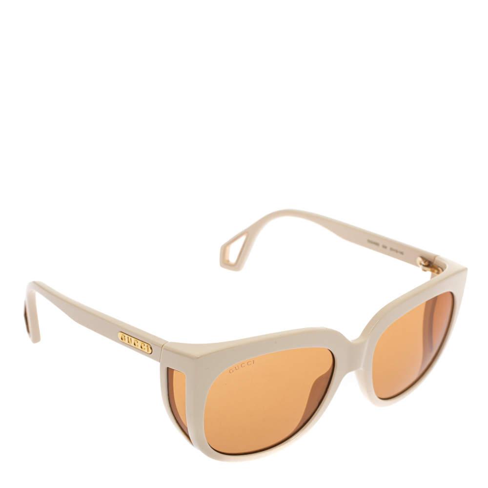 Gucci Off White/ Orange GG0468S Square Sunglasses