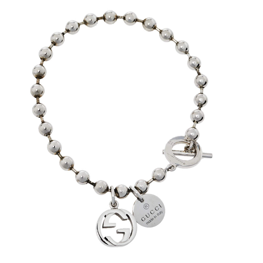 Gucci Sterling Silver Boule Chain Charm Toggle Bracelet 17