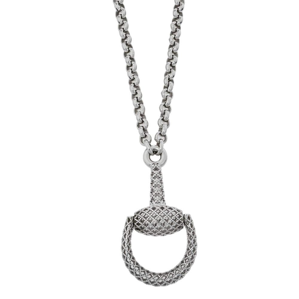 Gucci Sterling Silver Horsebit Diamantissima Pendant Necklace