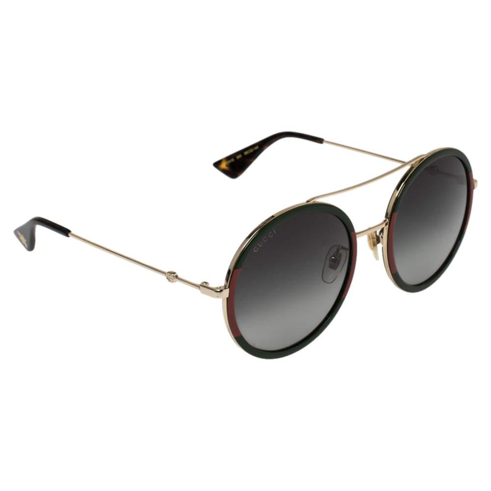 Gucci Green & Red/ Green Gradient GG0061S Round Sunglasses