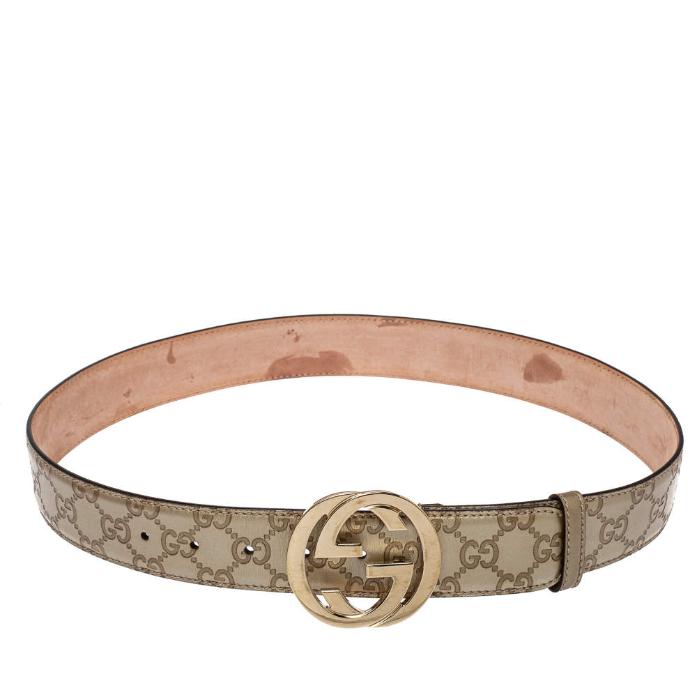 Gucci Metallic Gold Guccissima Leather Interlocking G Buckle Belt 85CM