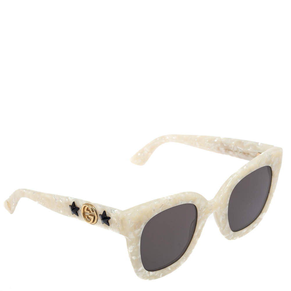 Gucci Pearl Ivory/ Grey GG0208S Oversized Sunglasses