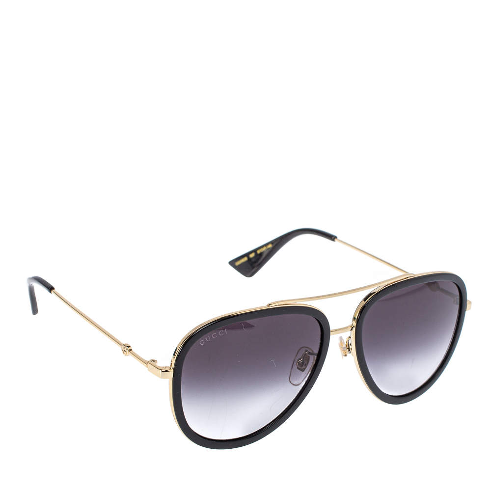 Gucci Black/ Grey Gradient GG0062S Aviator Sunglasses