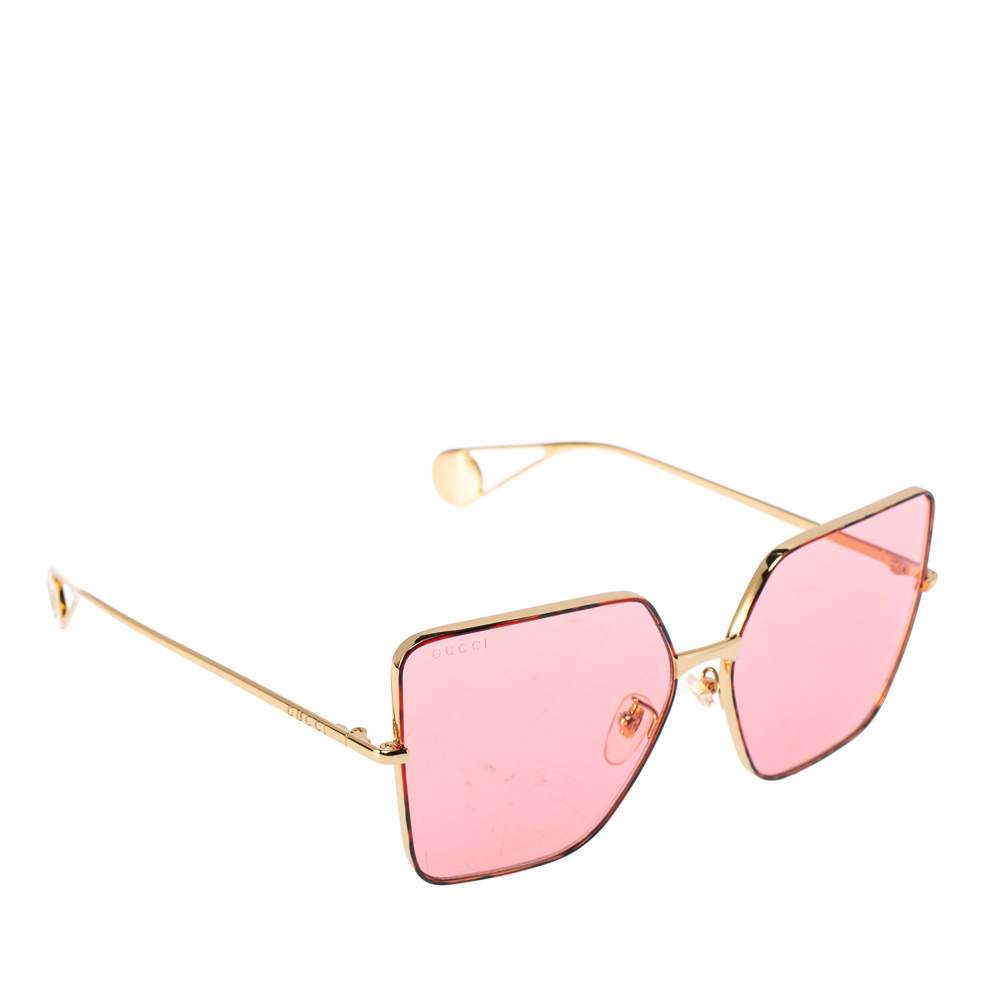 Gucci Red Havana/ Pink GG0436S Oversized Square Sunglasses