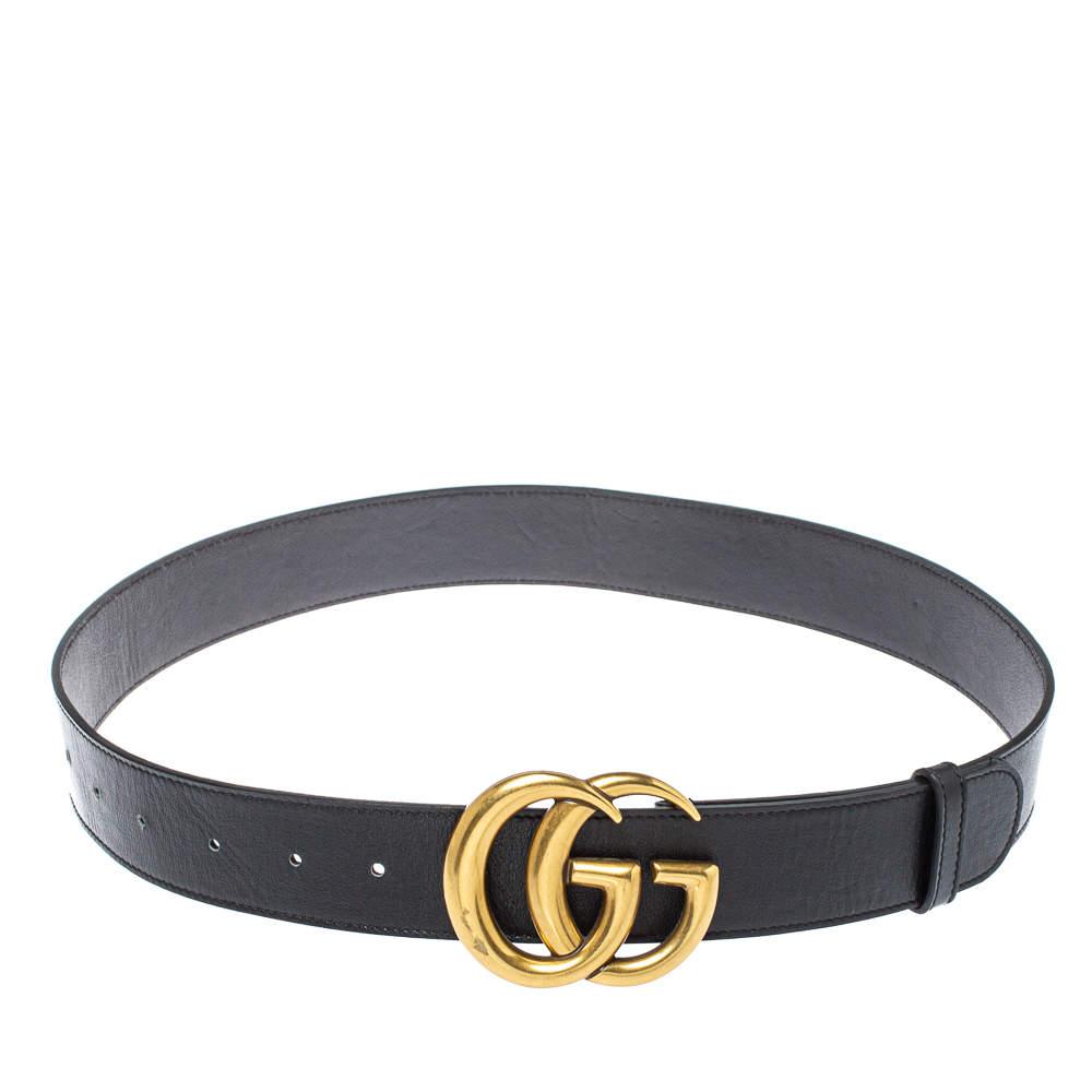 حزام غوتشي مارمونت إبزيم جي جي جلد أسود 75 سم