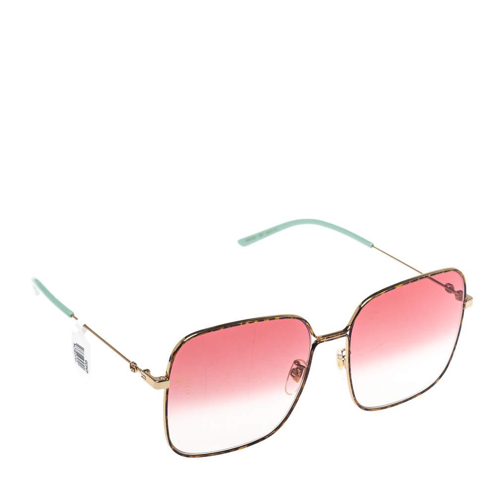 Gucci Havana Gold Pink Gradient GG0443S Square Sunglasses