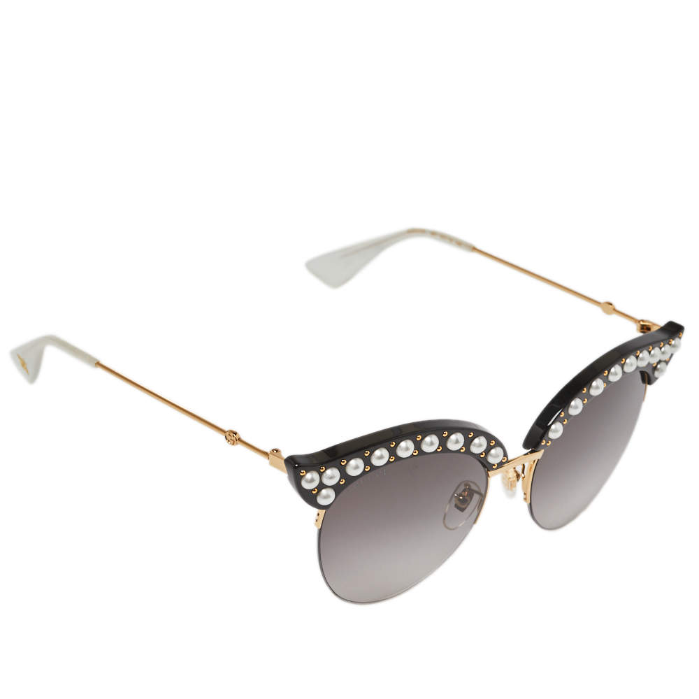 Gucci Black Pearl Studded / Grey Gradient GG0212S Cat Eye Sunglasses