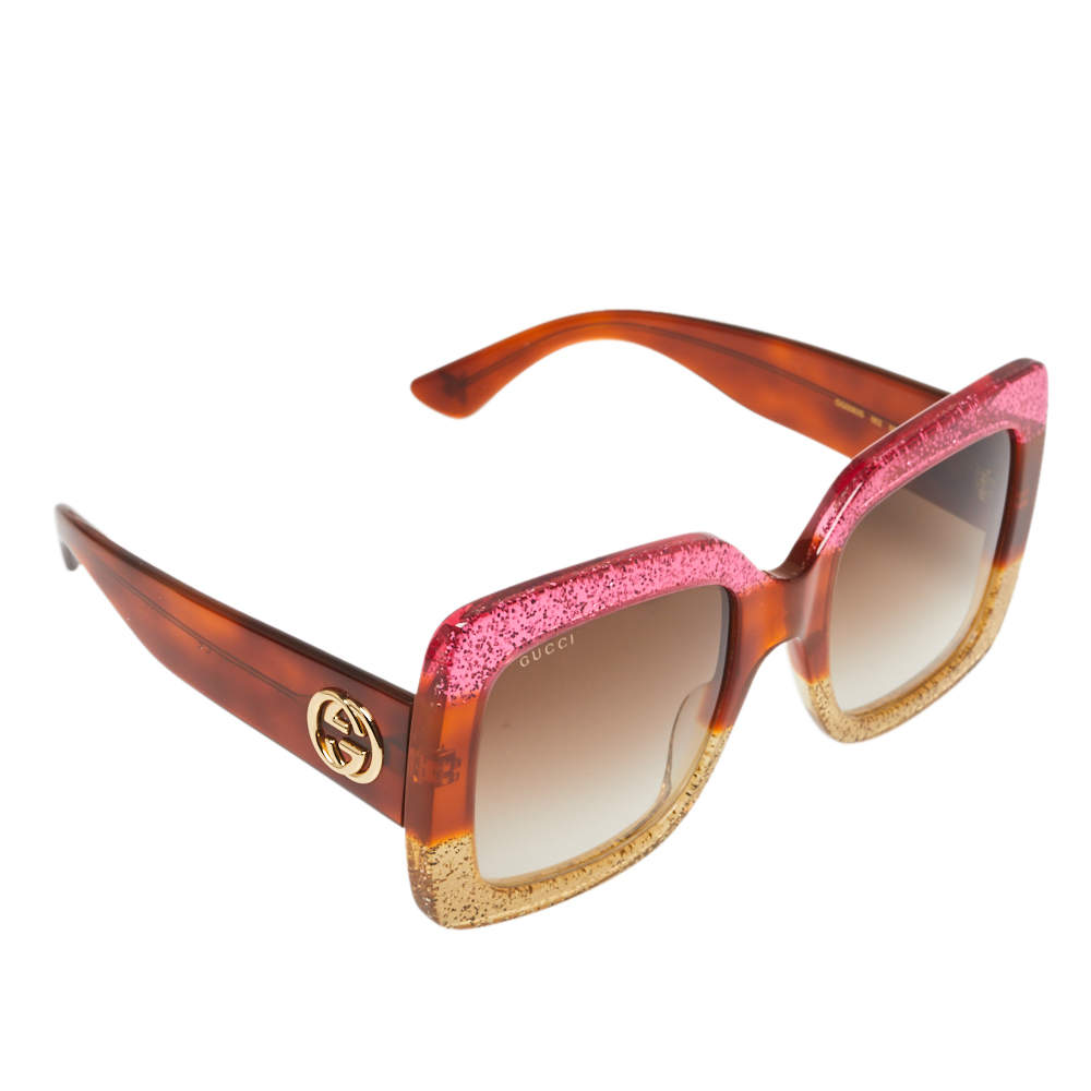 Gucci Bicolor Shimmer/ Brown Gradient GG0083S Oversized Square Sunglasses