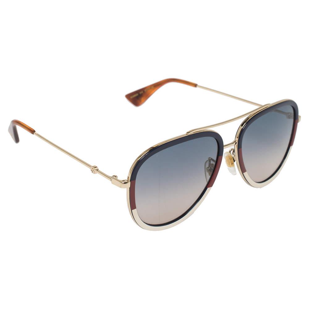 Gucci Multicolor Striped / Blue Gradient GG0062S Aviator Sunglasses