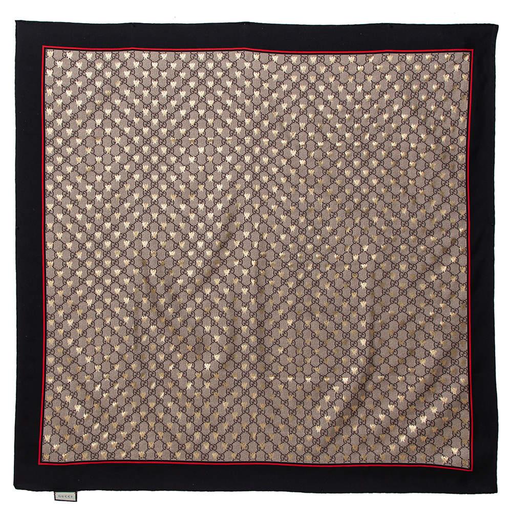 Gucci Beige & Black GG Metallic Bees Print Silk Square Scarf