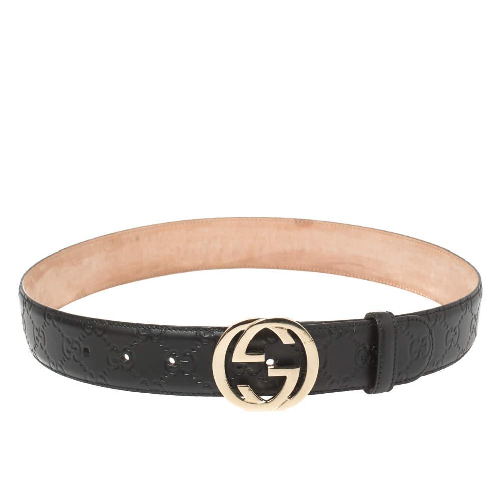 Gucci Black Guccissima Leather Interlocking G Buckle Belt 80CM