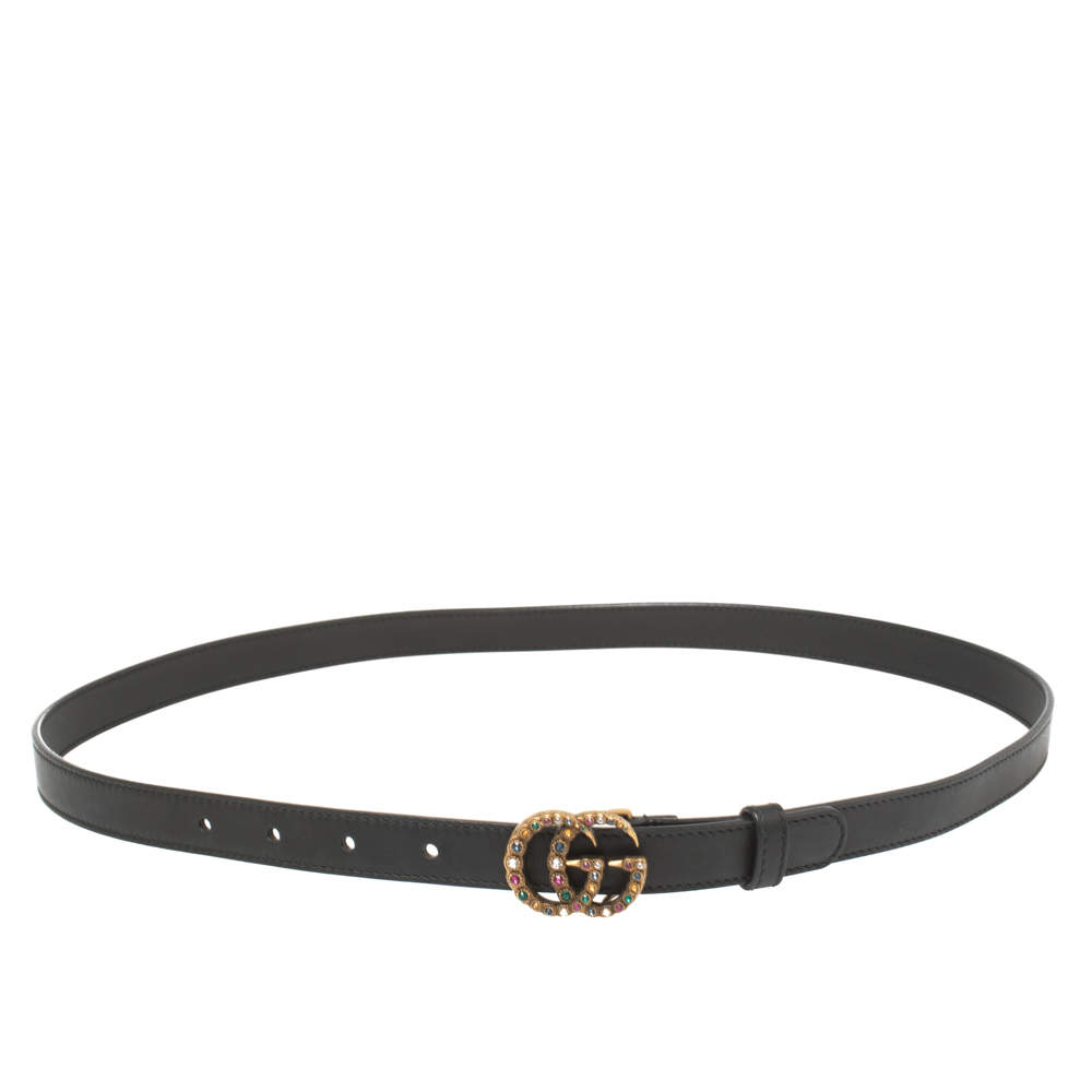 Gucci Black Leather GG Marmont Crystal Embellished Slim Belt 90CM