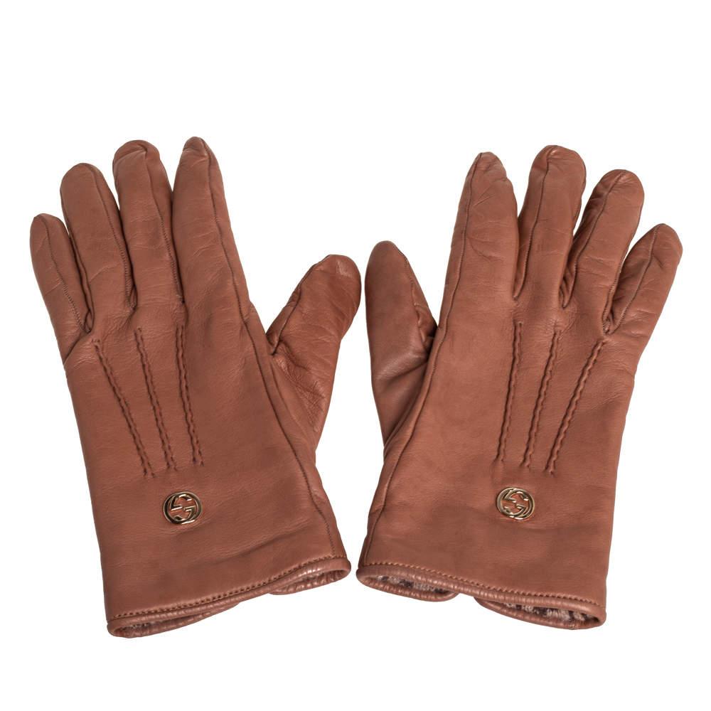 Gucci Brown Soft Leather Interlocking G Gloves Size L