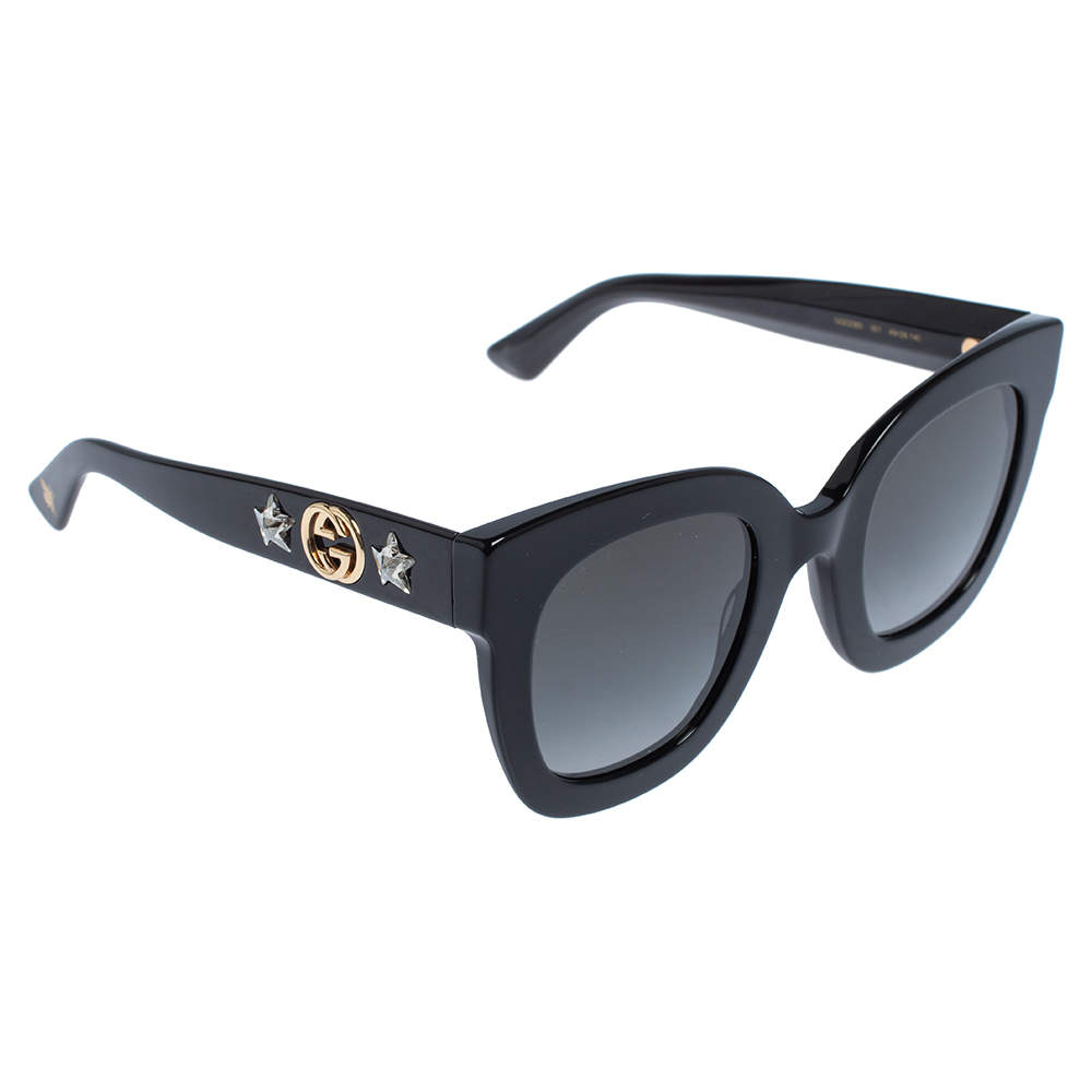 Gucci Black/Grey Gradient GG Star GG0208S Square Sunglasses