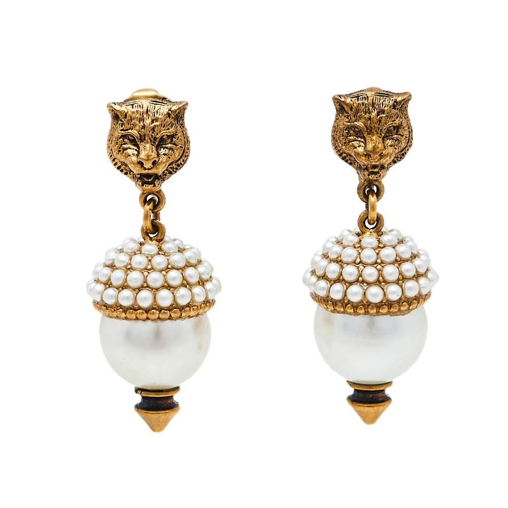 Gucci Aged Gold Tone Faux Pearl Feline Clip On Earrings