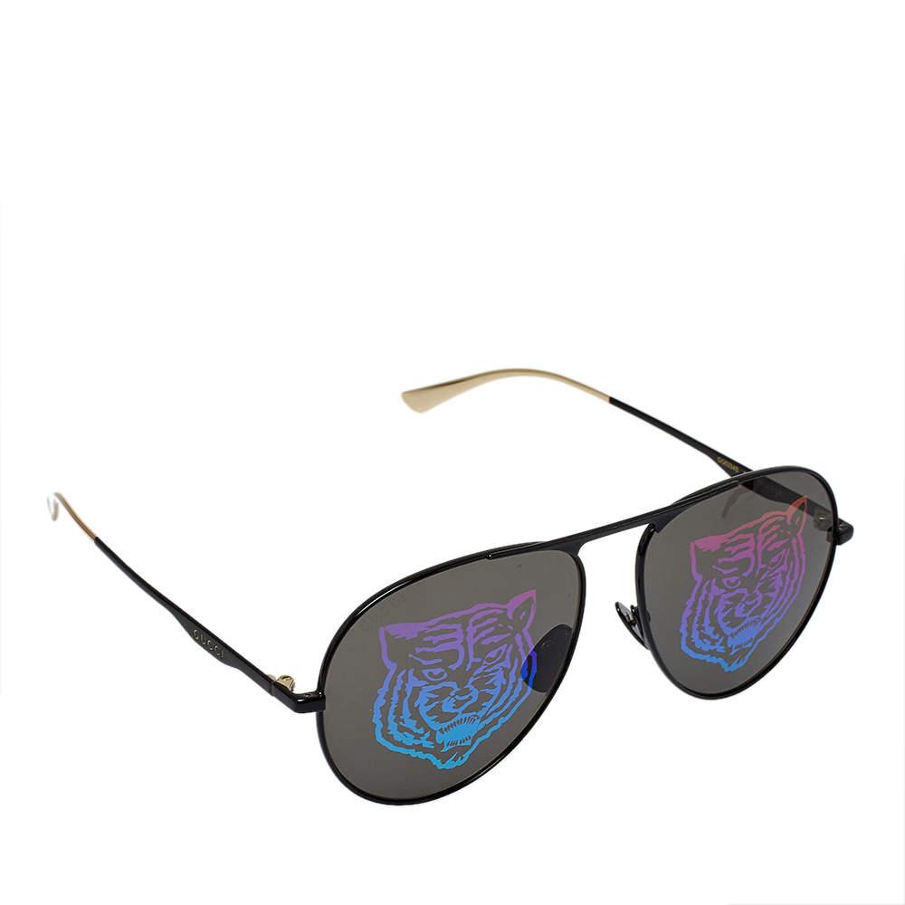 Gucci Black & Gold Tone/ Tiger Print GG0334S Aviator Sunglasses
